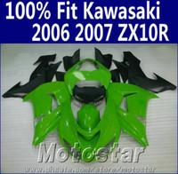 Wholesale Kawasaki Motorcycle Body Parts - Injection molding fairing body kit for Kawasaki ninja fairings ZX10R 2006 2007 06 07 ZX 10R green matte black motorcycle parts JU62