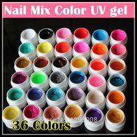 uñas eco gel al por mayor-Venta al por mayor-profesional nuevo 36 colores mezclados Nail Art UV gel Pure + Glitter Powder + Shimmer Colorful Nail Gel UV gel set, 5g / botella