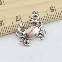 Wholesale silver crab charm - 20pcs Antique Silver Plated Crab Charms Pendants for Jewelry Making DIY Handmade Craft 15x17mm Jewelry making DIY