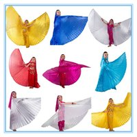 Wholesale Belly Dance Wings Gold - 9 color 1pc belly dance isis wings   belly dance wings  bellydance accessories GOLD SILVER WHITE ROSE RED OCEAN BLUE for children kids girls