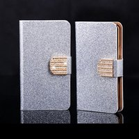Wholesale S3 Mini Glitter - Wholesale-Luxury Bling Glitter Diamond PU Leather Flip Cover Case for Samsung Galaxy s3 i8190 S3 MIni Wallet cases Housing Shell Free Film