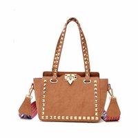 Wholesale Bags Handbags Fashion Colorful Style - fashion designer women bag Wide shoulder strap 2017 new colorful Korean style rivet handbag high qulity messenger and crossbody bags