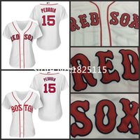 Wholesale Embroidery Ladies - 30 Teams-Boston Red Sox Womens Baseball Jerseys 15 Dustin Pedroia Ladies Jersey White Embroidery logos 100% stitched