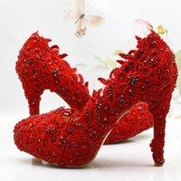 Wholesale High Comfortable Platform Wedding Shoes - Comfortable Red Lace Flower Women Pumps Platform Genuine Leather Bridal Wedding Shoes Sapatos Femininos Bridesmaid Shoes Size 41