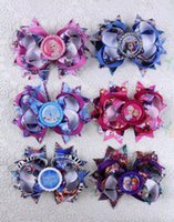 Wholesale Top Selling Hair Bows - TOP selling 6pcs 4 inches princess Frozen baby Girl kids boutique Hair bows with Epoxy Bottle caps BY0000