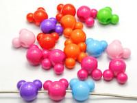 kabarcıklı boncuklar karıştır toptan satış-Büyük Delikli 50 Karışık Bubblegum Renk Akrilik Fare Yüz Boncuk 12mm