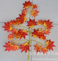 Wholesale Dried Stems - Red yellow Maple Leaf stems Leaves 12pcs 60cm Length Branch Silk Artificial For Wedding Home Office decor