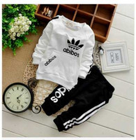 Wholesale Girl Black Tutus - 2015 Spring Autumn Children Clothing Sets Boys Girls Kids Brand Sport Suit Tracksuits 2pcs Cotton Long Sleeve Shirt+pants New