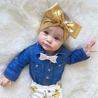 2016 Аксессуары для волос 8 Цвет Baby Big Bowknot Gold Sequins Принцесса Baby Girl Hair Band Headband Baby Head Band Kids Hairwear