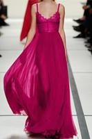 vestido linea fucsia rosa al por mayor-2017 Hot Pink Un correas espaguetis con cordones partido nupcial gasa fucsia línea vestidos de noche de los vestidos del corsé de la blusa de la dama moderna Fittled