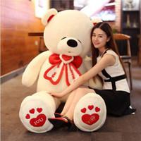 Wholesale Stuffed Love Bear - 2017 life size giant teddy bear stuffed toy latest tie bear big valentines day bear I love you toys animals
