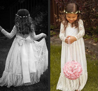 Wholesale Handmade Vests - Long Sleeve Flower Girl Dresses Ruffled Lace Handmade Vintage Formal Gowns Princess Special Pregnant Dress