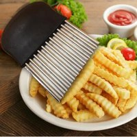 Wholesale Potato Slicing - Vegetable Gadgets Wave Chopper Potato Cutter Knife Onion Fork Holder Slicing Stainless Steel Kitchen Tools CCA8041 100pcs