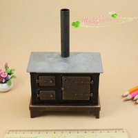 Wholesale Metal Dollhouses - 1 12 Dollhouse Miniatures Vintage Wood Burning Stove Medal Cook Stove for Kitchen