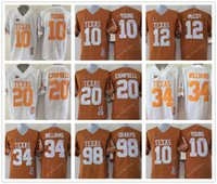 Wholesale white campbell - College Texas Longhorns Jerseys 10 Vince Young 12 McCoy 20 Earl Campbell 34 Connor Williams Jersey