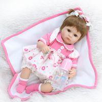 blumenstrauß spielzeug diy großhandel-40 cm Silikon Reborn Baby Puppe Kinder Playmate Geschenk Für Mädchen 16 Zoll Baby Lebendig Stofftiere Für Bouquets Puppe Bebe Reborn