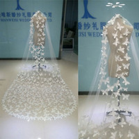 Wholesale Wedding Veils Butterflies - Best Selling Real Image Butterfly Bridal Veils White Sheer Tulle One Layer Long Veil With Free Comb Wedding Veil