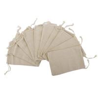 wedding jute bags 2018 - Wholesale- 10PCS Linen Jute Drawstring Gift Bags Sacks Party Favors 8 * 10cm