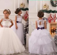 Wholesale Cheapest Girls Dresses - Cheapest 2016 New White Lace Flower Girl Dresses Tulle Ball Gown Layered Lace Applique Beaded Bow Sash Girl Pageant Dresses