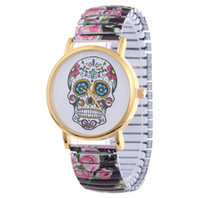 Wholesale Watches Skulls For Women - Free shipping 2016 Skull Quartz Wrist Watch for Lady Gift With Flower Pattern Casual Watch Women dress watch relojes mujer