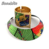 Wholesale Country Style Necklace - 2014 Country Style Multicolor Painting Torques Spring Cuff Bracelet Bangles Necklace Sets Women Party Statement Jewelry CE2191-S