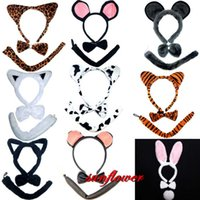 Gros-Bow Tie Tail Set Lapin Halloween Costume Party lapin Leopard Cat Ear Bandeau