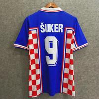 e445495948c Classics 1998 Croatian home away retro soccer jersey custom 3D Velvet font  name number suker football shirts top AAA quality soccer clothing