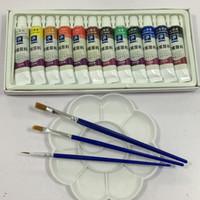 tubo de lona al por mayor-Juego de tubos de pinturas acrílicas de alta calidad para uñas, pintura de arte, herramienta de dibujo para artistas 12 ml 12 colores gratis para pincel y bandeja de pintura