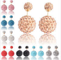 Wholesale Stainless Steel Pave Balls Wholesale - Shamballa Crystal Paved Ball Stud Earring Big And Small Two End Women Fashion Earring Studs Double Sided Stud Earring -J861