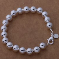 Wholesale Sterling Silver Bead Strands - Free Shipping with tracking number Top Sale 925 Silver Bracelet 10M hollow beads Bracelet Silver Jewelry 20Pcs lot cheap 1559