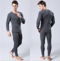 Wholesale Thermal Underwear Sets For Men - Wholesale- Winter Mens Warm Thermal Underwear Mens Long Johns Sexy Black Thermal Underwear Sets Thick Plus Velvet Long Johns For Man
