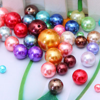 Wholesale 8mm Pearls Faux - Multi Color-Randomly Mixed Wholesale Acrylic Faux Pearl Imitation Round Beads For DIY Jewelry Making 6mm 8mm 10mm 12mm AB-26