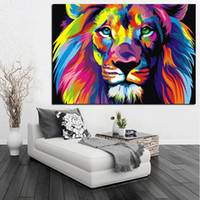 Wholesale Colorful Abstract Art Oil Paintings - Pop Art HD Print Colorful Lion Animals Abstract Oil Painting on Canvas Modern Wall Art Picture for Kid Room Poster Cudros Decor