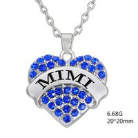 Wholesale Three Linked Hearts Necklace - Factory Price Fashion Simple design Twinkling Rhodium Plated Three Color Crystal Heart Letter MIMI Mother Necklaces Pendant Jewelry Making