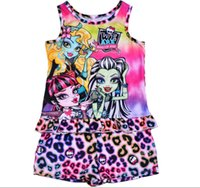 Wholesale Pyjama Tops - Children's clothing pajamas monster high sleeveless top tees t-shirt+short pants set pajama set pyjamas sleepwear 5 sets lot