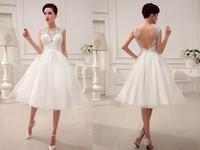 Wholesale Sexy Alencon Lace Wedding Dress - Vestidos 2015 Wedding Dresses Little White Dresses A-Line Wedding Dresses Tea-Length Applique Alencon Lace Simple High Quality A Line Square