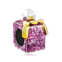Wholesale Girl S Charm Bracelet - 5pcs per lot Hot Shimmering Rose Pink Perfume Bottle Girl' S Beads Charms Fit Pandora Charm Bracelet