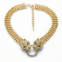 Wholesale Gold Leopard Head Necklace - 2015 Trendy Fashion Gold Crystal leopard head pendant Luxury necklace Choker elegant costume fine jewelry