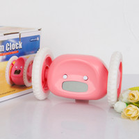 Wholesale Digital Alarm Clock Wheels - Clocks Alarm Creative Design Runaway Clocky LCD Display Running Clock Alarm With Moving Wheel plastic colorful