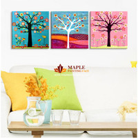 Wholesale Canvas Art Money Tree - Free shipping 3 pieces Abstract colour of Money tree Fine Art Abstract painting printed on canvas for decorating for living room