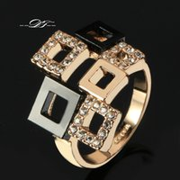Wholesale Gold 18k Elegant - Classic AAA+Cubic Zircon Elegant Rings Wholesale 18K Gold Plated Fashion Brand Party Jewelry For Women anel aneis New DFR091