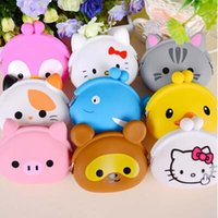 Wholesale Cute Mini Wallets Keys - 100pcs Cute Mini key Wallet bag Women Silicone Coin Purse Japanese Candy Color lovely Animals Jelly Silicone Coin bag By DHL Free shipping