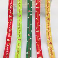 Wholesale grosgrain ribbon 9mm resale online - 100Yards Christmas Grosgrain Ribbon Decor Edge Gift Wrap mm Roll yds