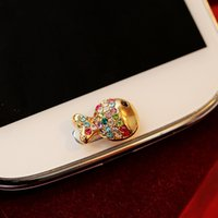 Wholesale Rhinestone Home Phones - Wholesale-Cute Little Shiny Rhinestones Alloy Fish Home Button Sticker for Samsung Women's Mobile Phone Accessory and Gift