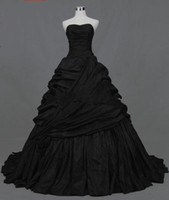 Wholesale Strapless Taffeta Floor Length - 2015 new design black taffeta A-line Strapless Actual Images Pleated Ruffle Taffeta Floor Length gothic victorian black Wedding Dresses