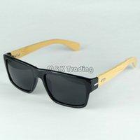 Wholesale Eyewear Wood Temples - Logo Carved Custom Made Wood Sunglasses Square Black Designer Sunglasses Bamboo Temples And Plastic Frame Vintage Eyewear 4 Colors