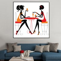 Astratto Chatty girl painting Stampa su tela per Coffee shop Soggiorno picture speciale canvas painting Wall art Decor 40x40cm