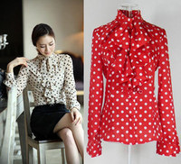 Wholesale Shirts Flouncing Blouse - Free Shipping 2014 New Fashion Women's Shirt Ruffle Front High Neck Shirt Polka Dot Print Flouncing Tops Blouse Red White M L XL