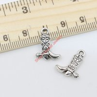 Wholesale Boots Charms Pendants - 20pcs Wholesale Antique Silver Plated Boot Charm Pendant for Jewelry Making DIY Handmade Craft 17x13mm B413 Jewelry making DIY