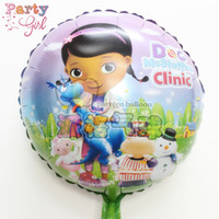 Wholesale Doc Mcstuffins Toys - Wholesale 50pcs lot 18inch round doc mcstuffins balloon kids toys,mylar foil balloons for child birthday party supplies globos